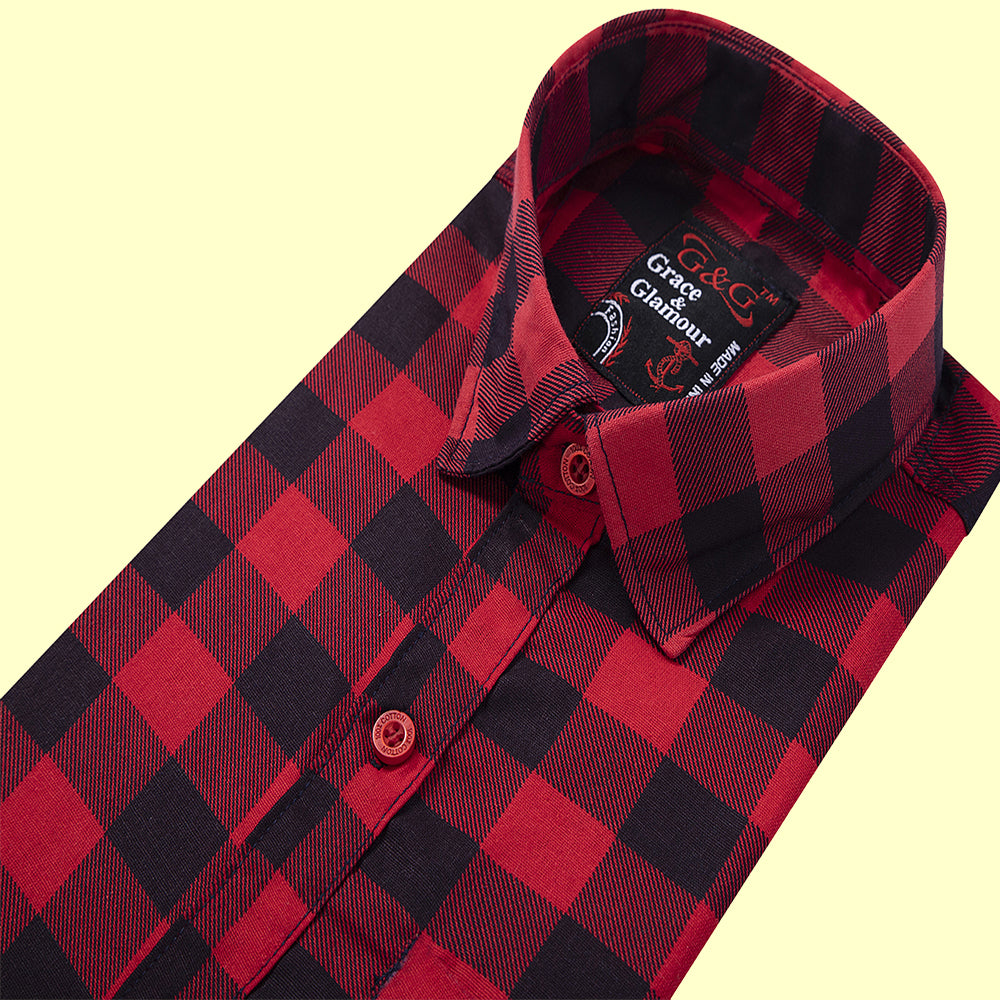 Grace and  Glamour Cotton  Casual Single Shirt for boys- Red-black check