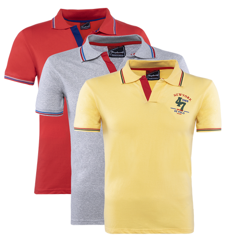 Combo of Gray-Yellow-Red Cotton Polo Collar Half Sleeve T-Shirt for Men