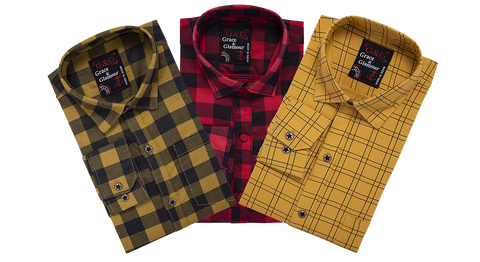 Combo of 3 Cotton Full Sleeve Check Shirt for Men Yellowblack-Pinkblack-Yellow