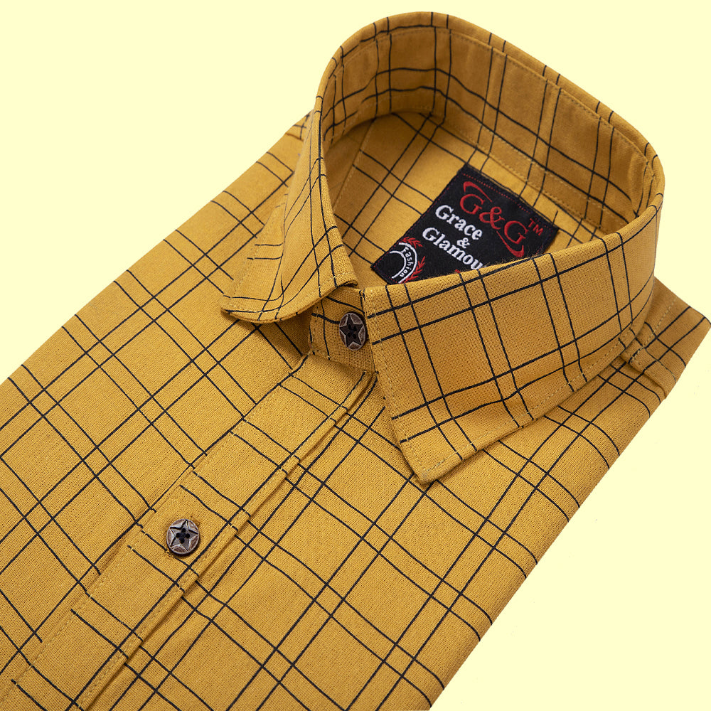 Grace and  Glamour Cotton Full Sleeve Casual Single Shirt for Men