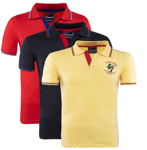 Cotton Polo Collar Half Sleeve T-Shirt Red-Black-Yellow for Men(Combo of 3)