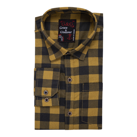 Combo of 3 Cotton Full Sleeve Check Shirt for Men Firoziblack-yellowblack-orangeblack