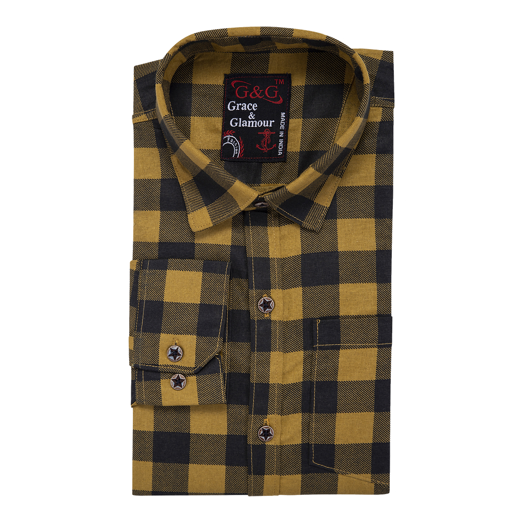 Combo of 3 Cotton Full Sleeve  Check Shirt for Men pink-yellowblack-Orangeblack