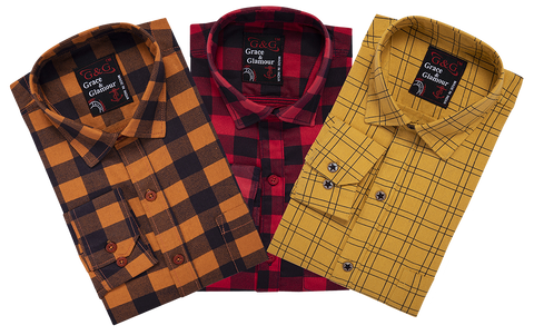 Combo of 3 Cotton Full Sleeve Check Shirt for Men OrangeBlack-Pinkblack-Yellow