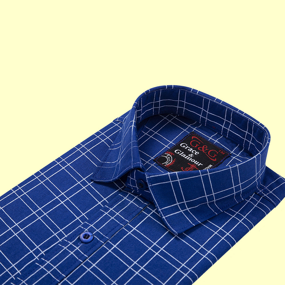 Grace and Glamour Cotton Full Sleeve Casual Single Shirt for Men -Blue Check