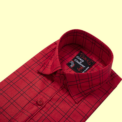 Grace and  Glamour Full Sleeve Casual Single Shirt for Men-Pink check