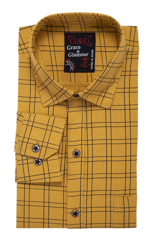Combo of 3 Cotton Full Sleeve Check Shirt for Men Orange-Whiteblack-Yellow