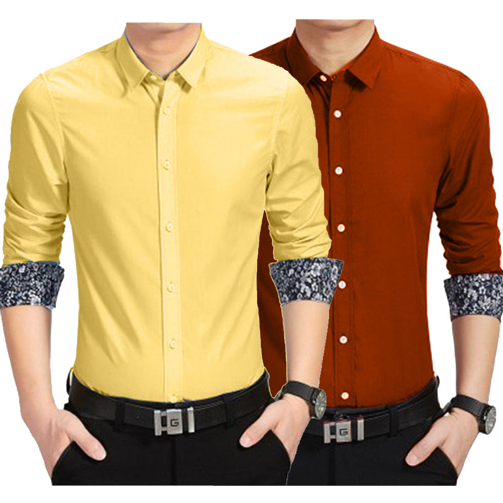 New Combo of 2 Plain Cotton Shirt for Men - Rust-Yellow