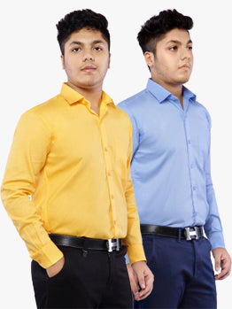 Combo of 2 Cotton Full Sleeve Shirt for Men - Amber-SkyBlue