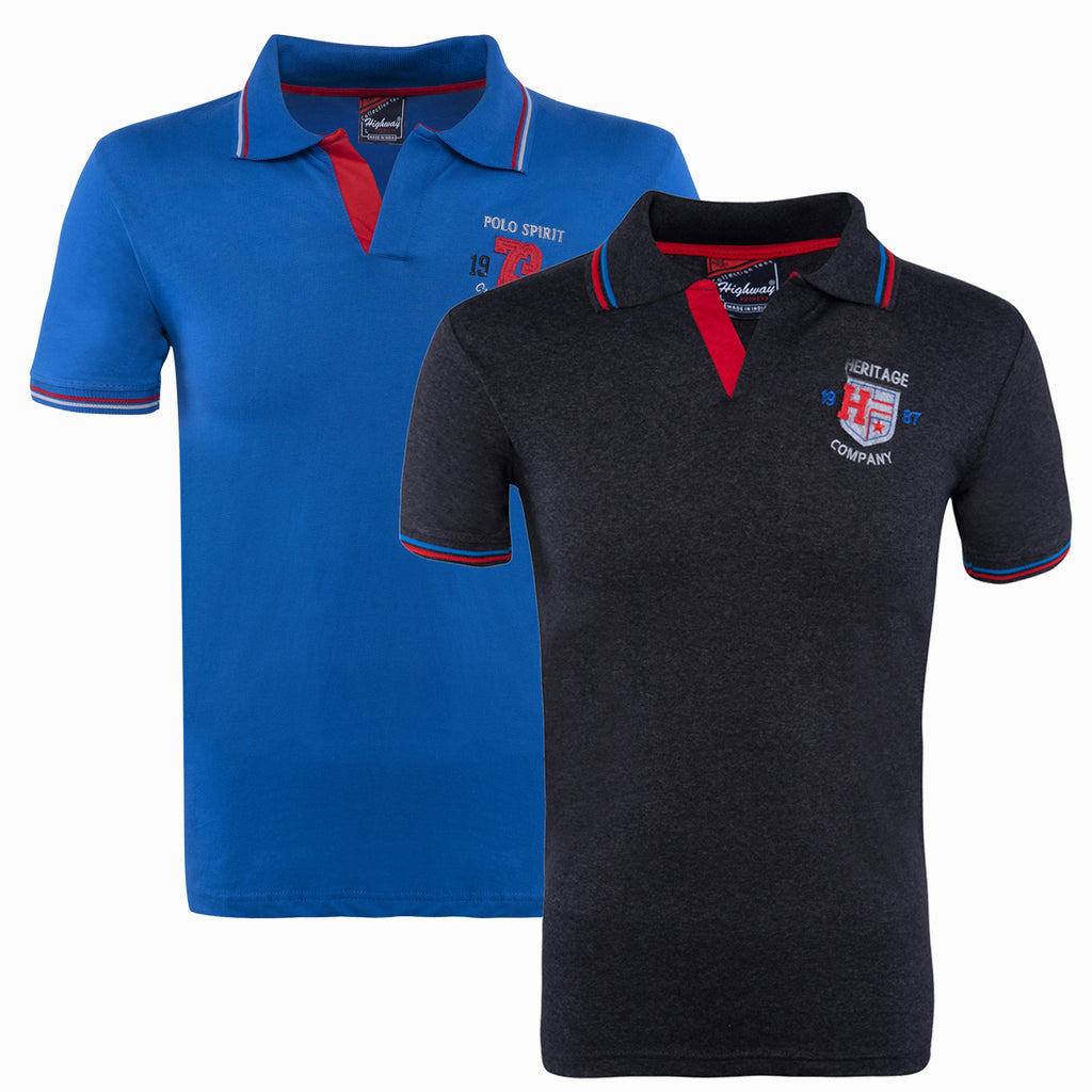 Combo of Black Blue Cotton Polo Collar Half Sleeve TShirt for Men