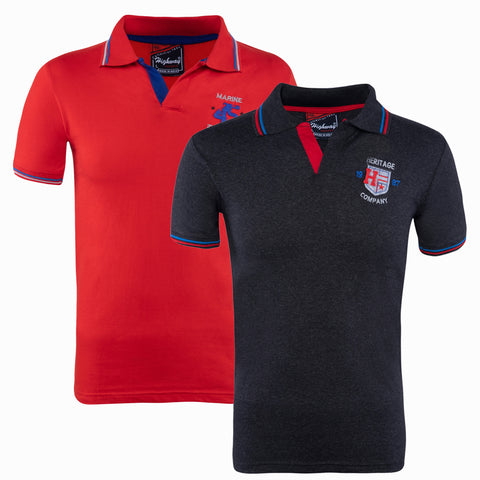 Combo of Red Black Cotton Polo Collar Half Sleeve TShirt for Men