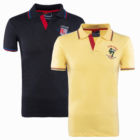 Combo of Yellow Black Cotton Polo Collar Half Sleeve TShirt for Men