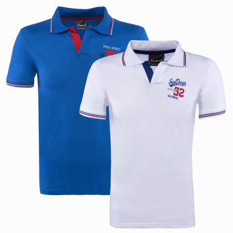 Combo of White Blue Cotton Polo Collar Half Sleeve TShirt for Men