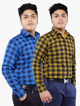 Grace and glamour combo shirts-blue yellow check