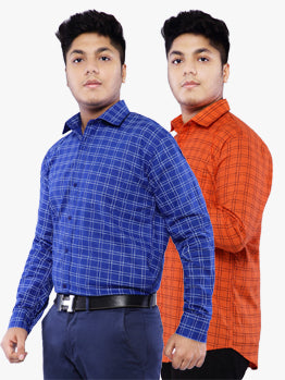 Combo of 2 Cotton Full Sleeve Line Check Shirt for Men - DarkBlue-Red