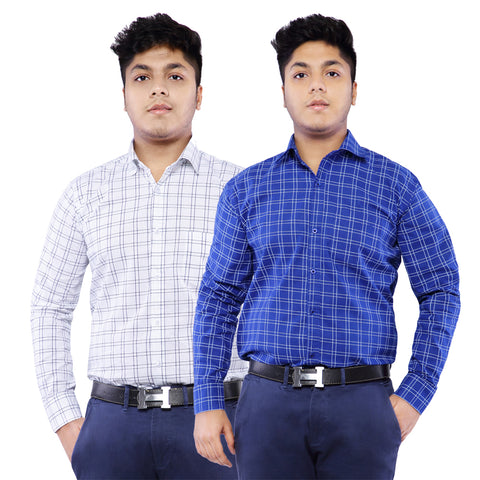 Combo of 2 Cotton Full Sleeve Line Check Shirt for Men - DarkBlue-White