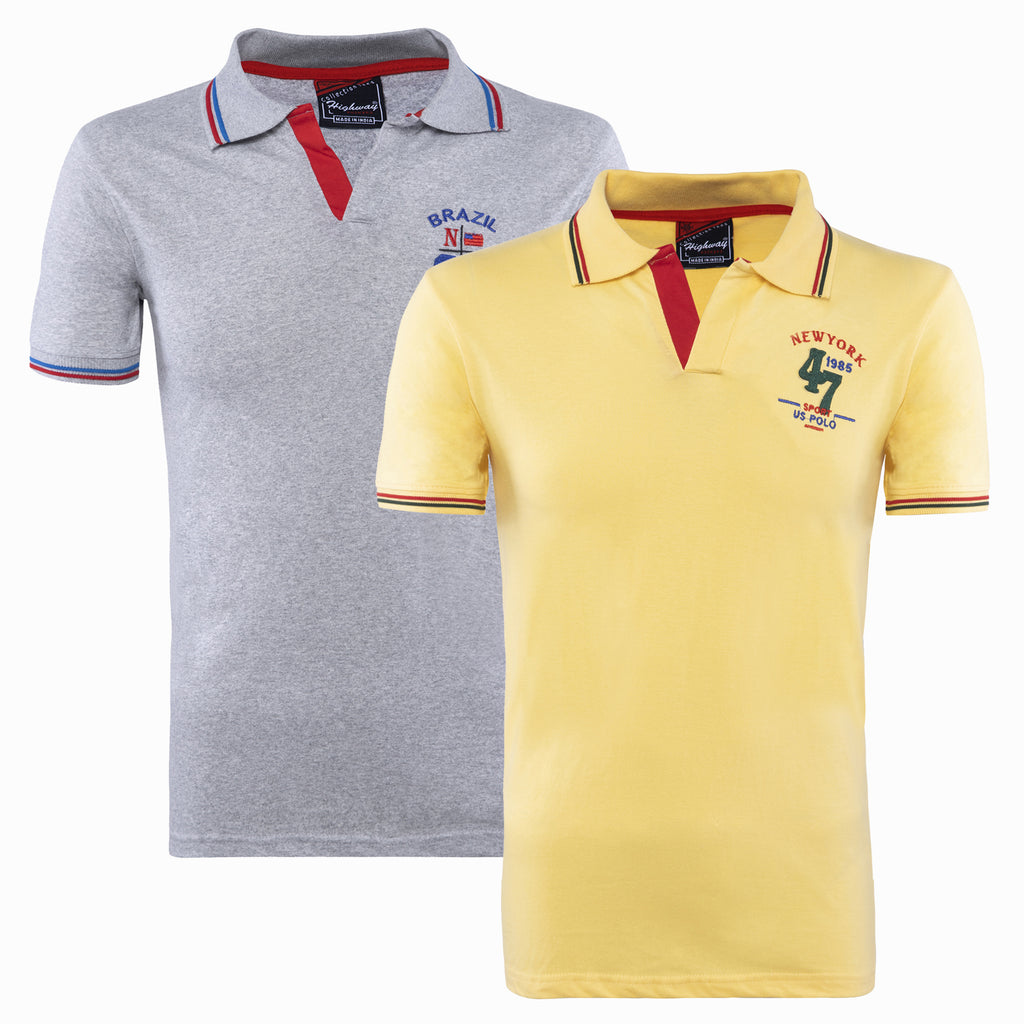Combo of Yellow Grey Cotton Polo Collar Half Sleeve TShirt for Men