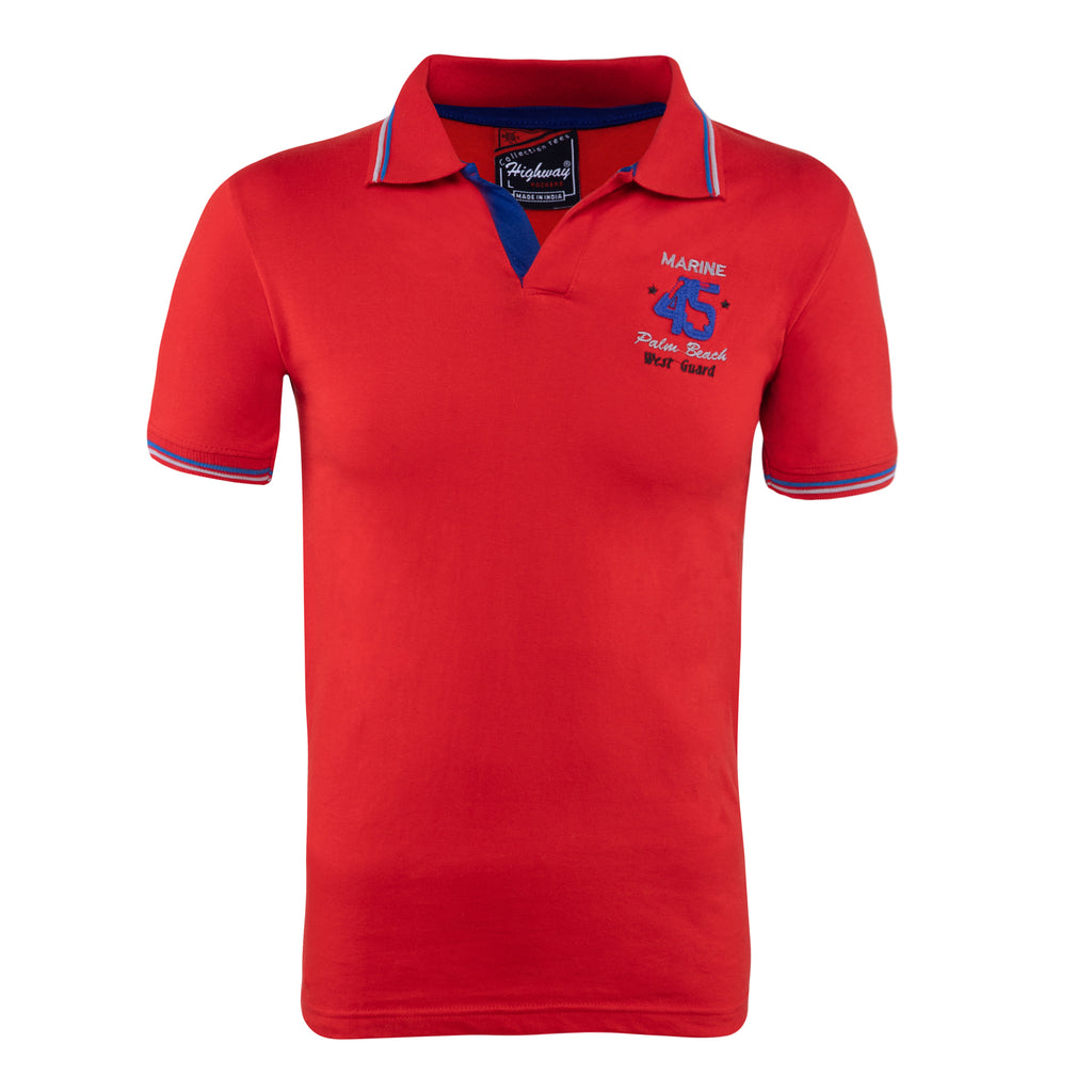 Cotton Polo Collar Half Sleeve TShirt for Men - Red
