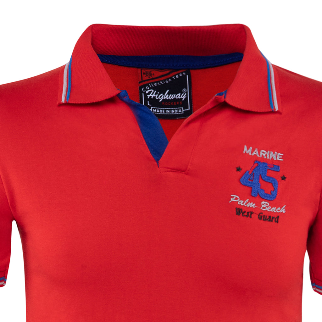 Combo of NavyBlue Red Cotton Polo Collar Half Sleeve TShirt for Men