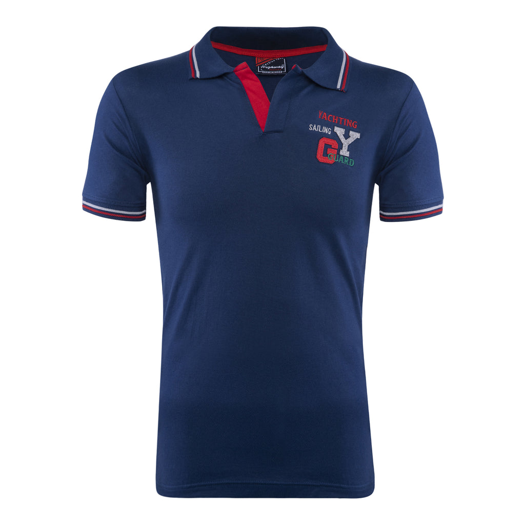 Cotton Polo Collar Half Sleeve TShirt for Men - Navy Blue