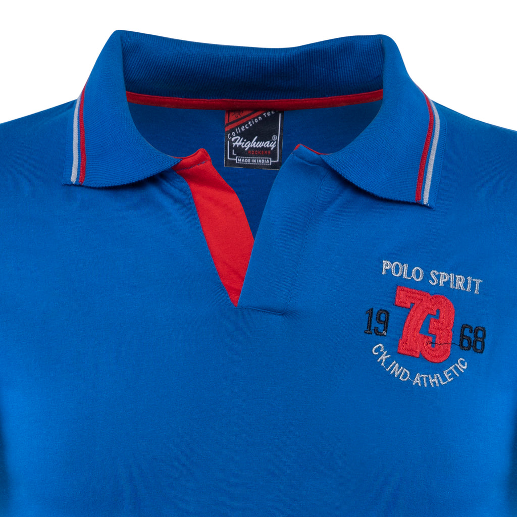 Combo of Blue Red Cotton Polo Collar Half Sleeve TShirt for Men