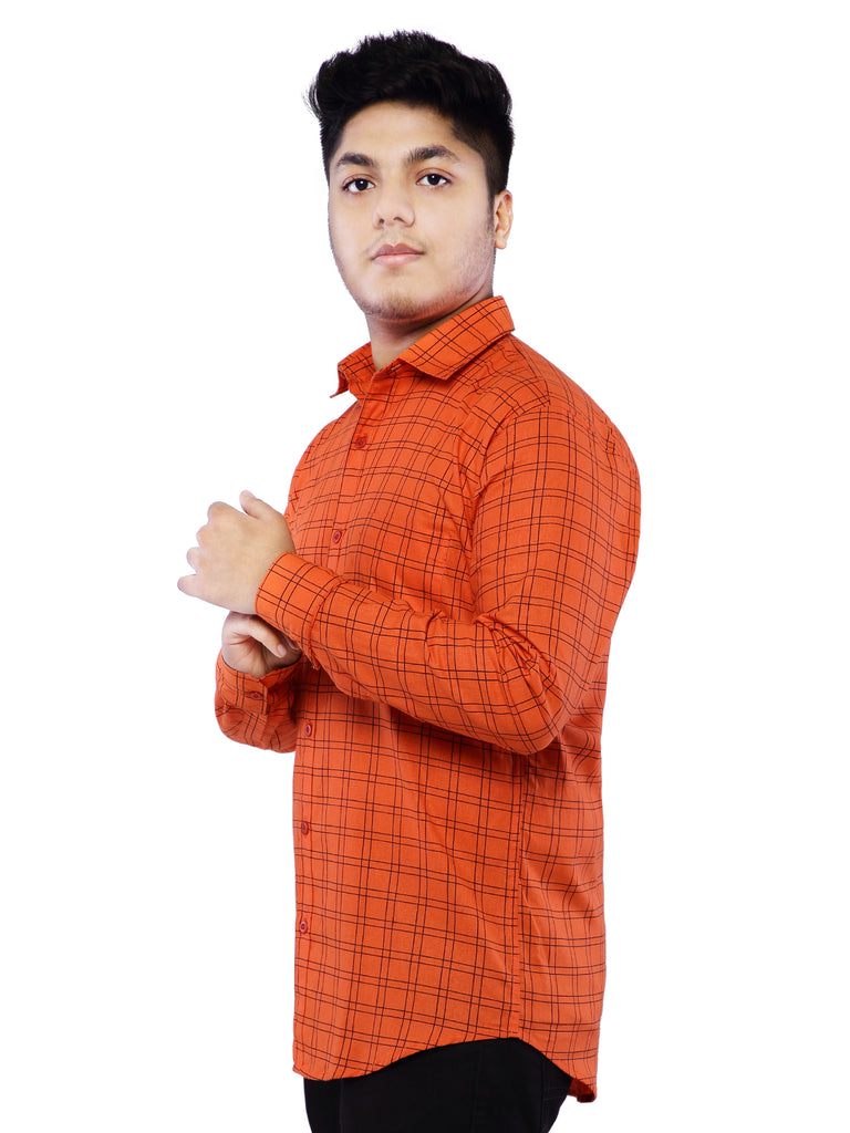 Combo of 2 Cotton Full Sleeve Line Check Shirt for Men - Blue-Red