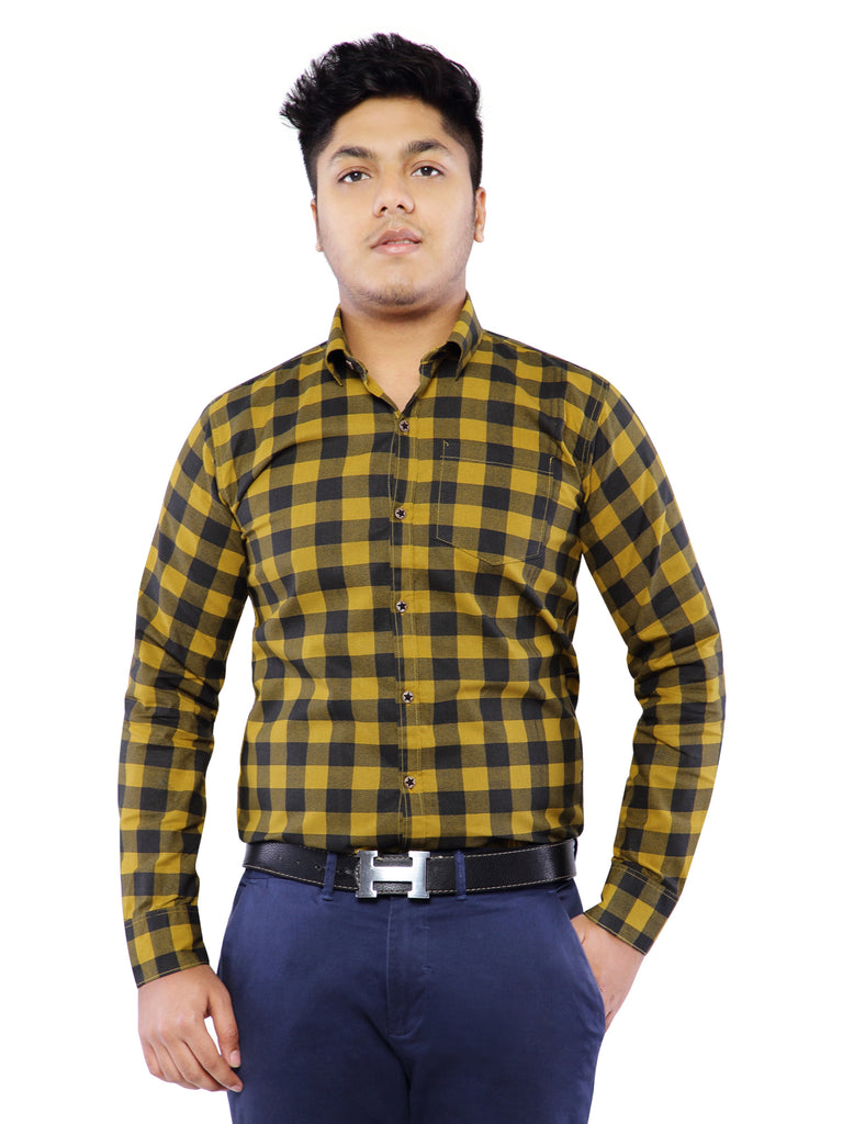 Combo of 2 Cotton Full Sleeve Check Shirt for Men - Blue-Yellow