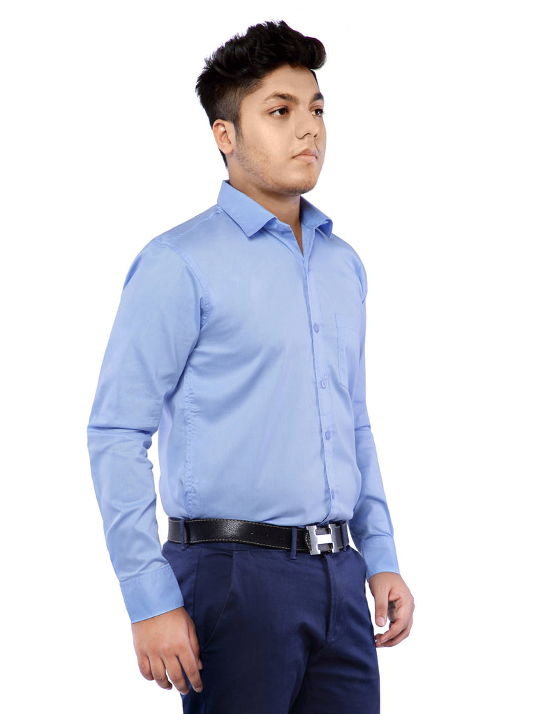 Cotton Full Sleeve Shirt for Men - Sky Blue