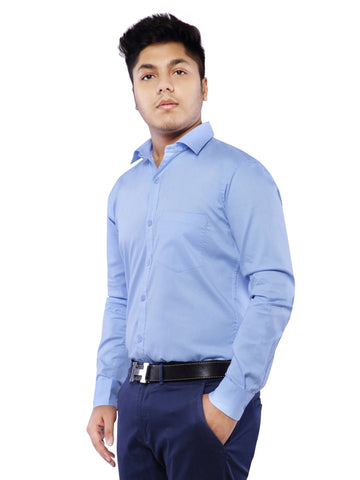 Combo of 2 Cotton Full Sleeve Shirt for Men - Black-Light Blue