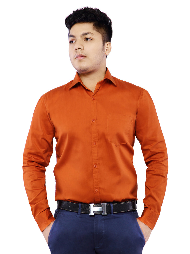 Grace & Glamour Combo of 2 Cotton Full Sleeve Shirt for Men - Green-Rust