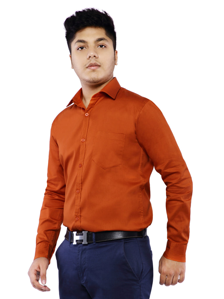 Cotton Full Sleeve Shirt for Men - Rust