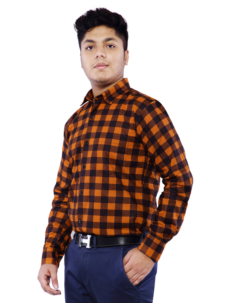 Combo of 2 Cotton Full Sleeve Check Shirt for Men - Blue-Orange