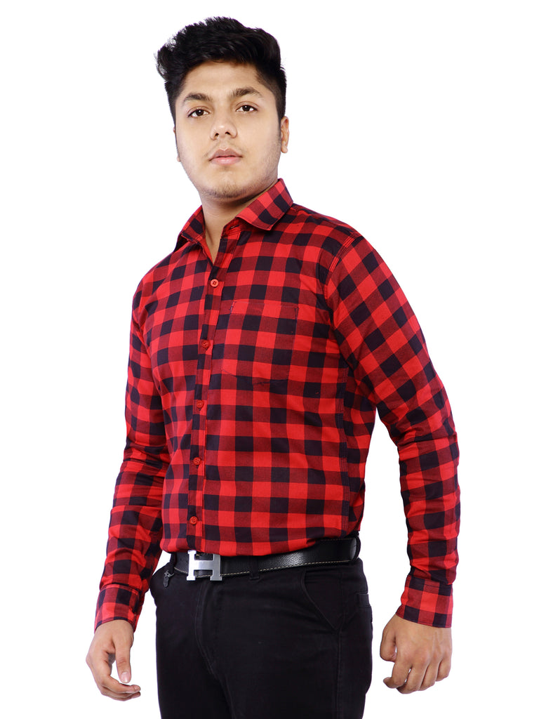 Combo of 2 Cotton Full Sleeve Check Shirt for Men - Orange-Red
