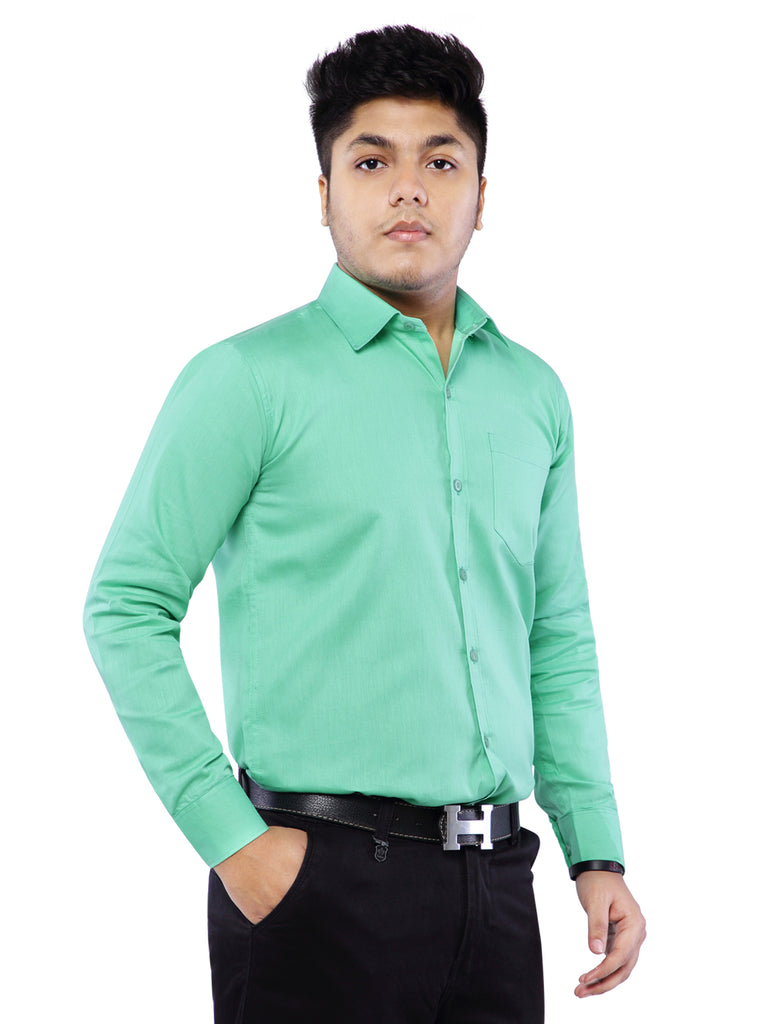 Combo of 2 Cotton Full Sleeve Shirt for Men - Green-Amber