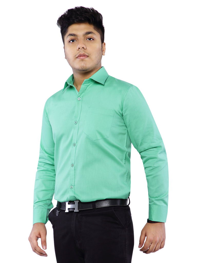 Grace & Glamour Plain Cotton Shirt for Men -  Green