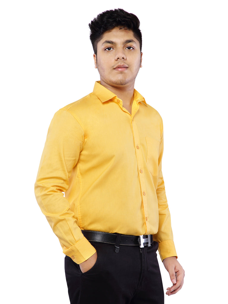 Cotton Full Sleeve Shirt for Men - Amber