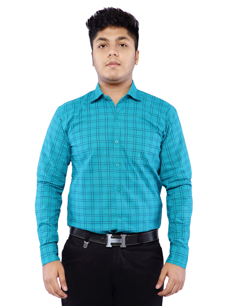 Combo of 2 Cotton Full Sleeve Line Check Shirt for Men - Blue-White