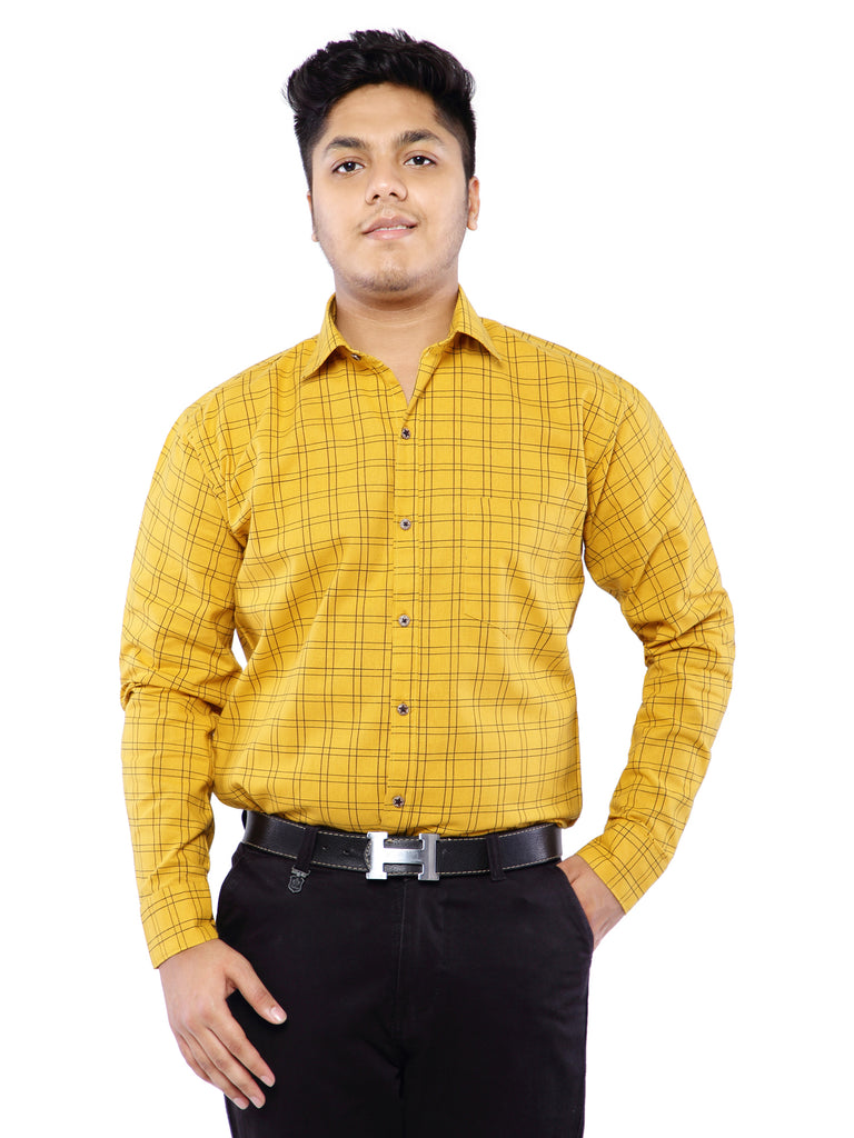 Combo of 2 Cotton Full Sleeve Line Check Shirt for Men - Yellow-Red
