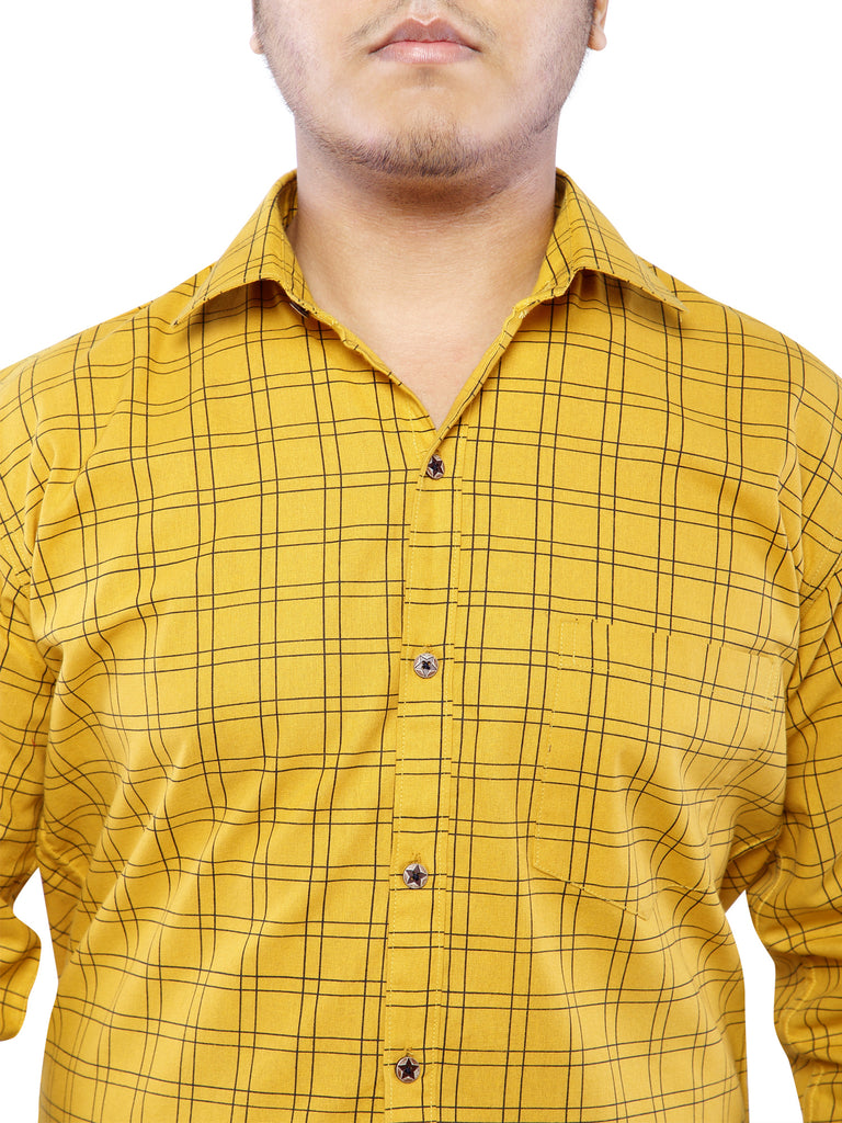 Combo of 2 Cotton Full Sleeve Line Check Shirt for Men - DarkBlue-Yellow
