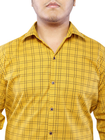 Combo of 2 Cotton Full Sleeve Line Check Shirt for Men - Blue-Yellow