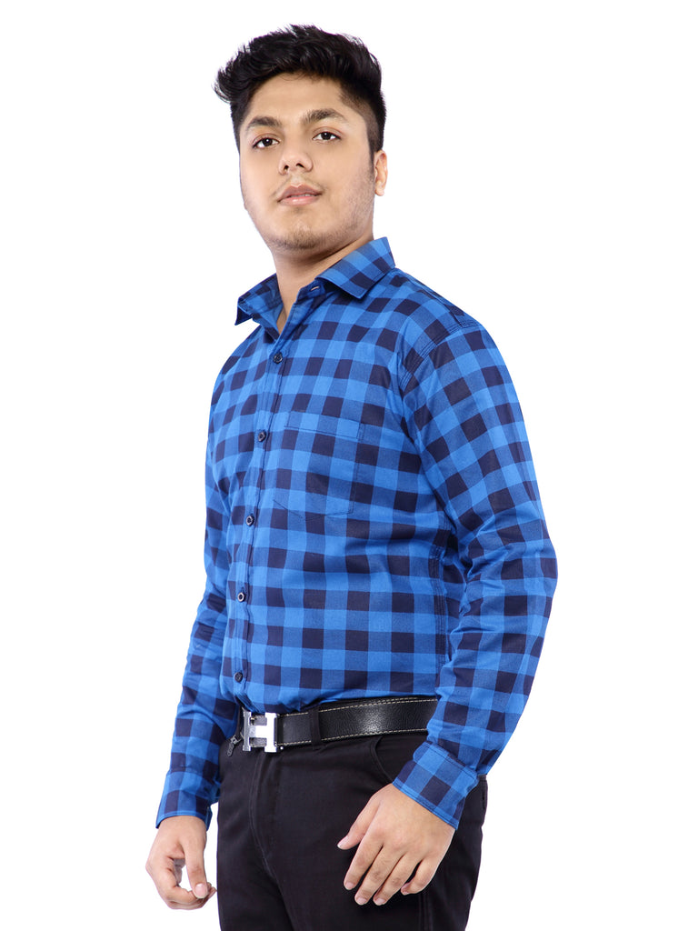 Combo of 2 Cotton Full Sleeve Check Shirt for Men - Blue-Red