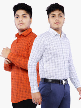 Combo of 2 Cotton Full Sleeve Line Check Shirt for Men - Red-White