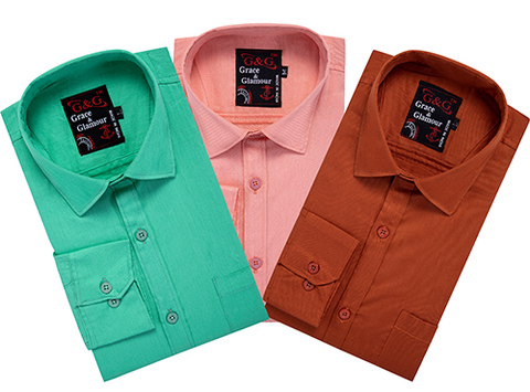 Cotton Full Sleeve Casual Shirt for Men Combo (M_ Pack of 3)