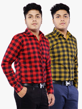 Combo of 2 Cotton Full Sleeve Check Shirt for Men - Red-Yellow