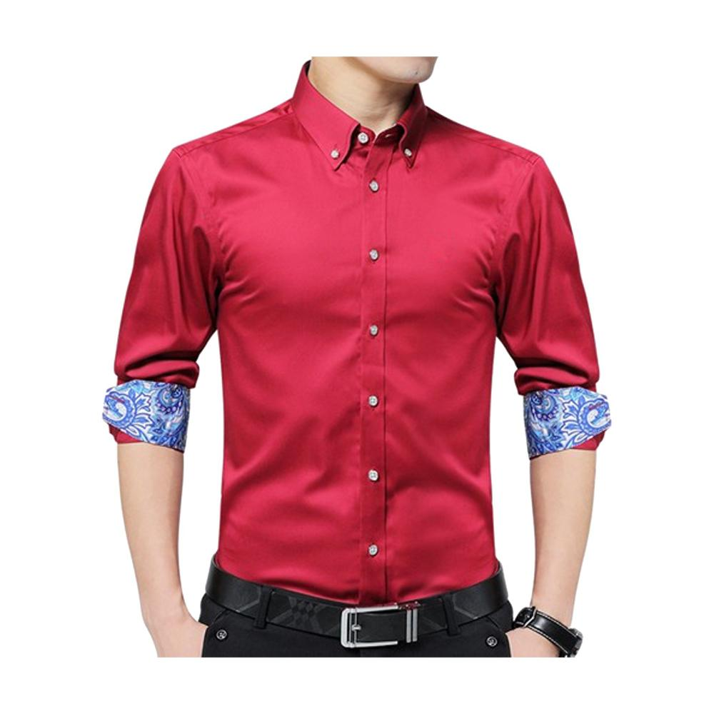 New Combo of 2 Cotton Full Sleeve Shirt for Men - Red-White