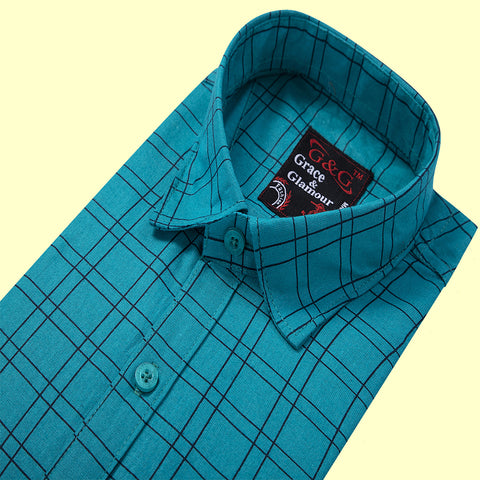 Grace and Glamour Casual Single Shirt for Men-Firozi