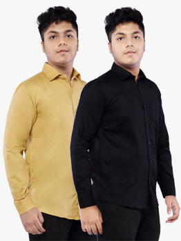 Combo of 2 Cotton Full Sleeve Shirt for Men - Black-Yellow
