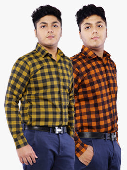 Combo of 2 Cotton Full Sleeve Check Shirt for Men - Yellow-Orange