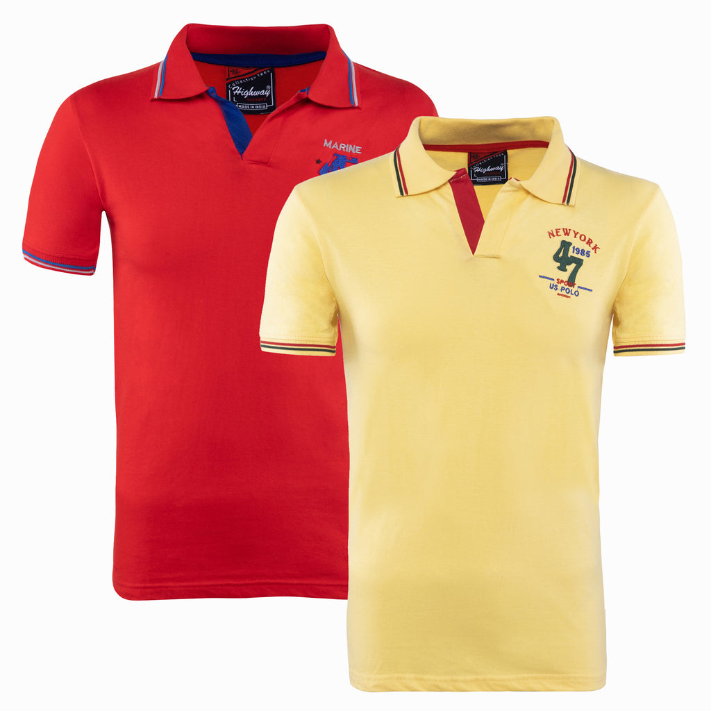 Combo of Yellow Red Cotton Polo Collar Half Sleeve TShirt for Men