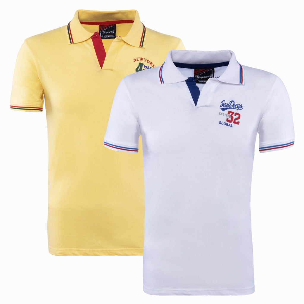 Combo of Yellow White Cotton Polo Collar Half Sleeve TShirt for Men
